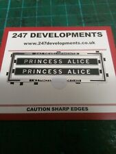 """0"" Gauge 247 Developments LMS Name Plates for 6223/46223 Princess Alice"