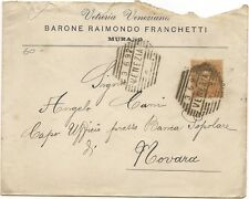 P5824   Venezia, Murano, busta commerciale con annullo nominale a sbarre Ve 1892
