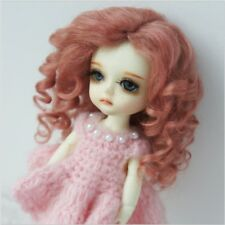 """1/6 Tiny bjd 5-6"""" doll wig champagne pink curly real mohair JD039XS dollfie Lati"""