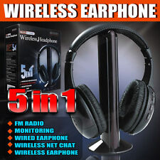 5in1 Wireless Headphone Cordless Headset Mic FM Radio Earphone for TV PC iPod