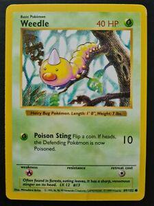 Weedle SHADOWLESS Base Set Pokemon Card 69/102