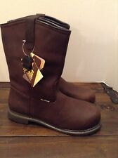 NWOB Mens ACE 8307 Bronco Brown EH Rated SFC V-Grip Pull- On Boots Size 13