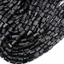 """Faceted Black Tourmaline Tube Beads Nugget Crystal Rectangle Cylinder 16"""" Strand"""