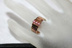 Fine MISAKI Rose Gold on Stainless 3 Pink Pearl Band Ring SZ  7