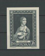 POLAND OFFICIAL BLACK PRINT 1958 CARDBOARD IMPERF RARE! LEONARDO DA VINCI (m2064
