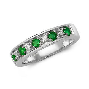 SPECIAL PRICE 9ct White Gold Emerald Diamond Eternity Ring, Sizes K / M  (277r)