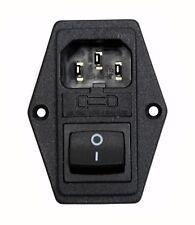 1pc IEC AC Inlet Socket JR-101-1FR2-02 10A 250V Fuse Holder + Switch JEC