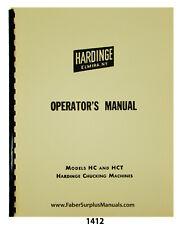 Hardinge Models Hc Amp Hct Chucking Machine Operators Manual 1412
