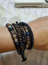 Nakamol 5 Wrap up Czech Crystal, Agate, Beads & black Leather Bracelet