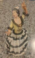 Volkstedt Dresden Crown Ceramic Spanish Flamenco Female Dancer Figurine Porcelai