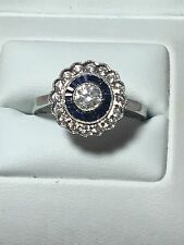 18ct. 18k. 750. White Gold. Diamond & Sapphire Ring. Size O. U.S. Size 7.5
