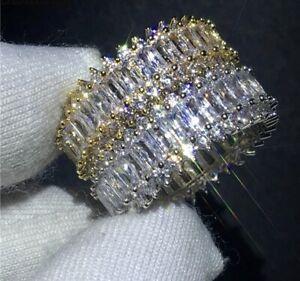 18k White Gold GP made w/ Swarovski Crystal Stone Eternity Ring Anniversary Band