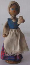 Wooden doll in the Estonian folk costume. 1960. Free shipping.