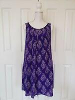 Anthropologie Maeve Shift Dress S Small Silk Purple Floral Sleeveless Pockets