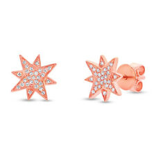 0.11 CT 14K Rose Gold Natural Round Cut Diamond North Star Stud Earrings