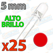 25x LED 5mm ROJO Alto Ultra Brillo ultrabright 20mA diodo diode red