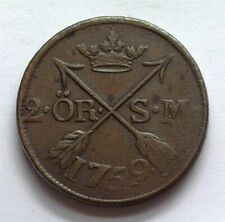SWEDEN 1759 2 ORE KM-461 ABOUT UNCIRCULATED
