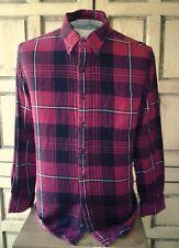 Men's Saddlebred Long Sleeve Flannel Shirt Red & Black Plaid /Check Size Large