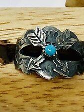 Vintage Fred Harvey Era Sterling Real Sleeping Beauty Turquoise Arrow Ring SZ 8