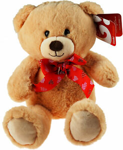 25cm Plush Soft Teddy Bear With Heart Bow - Valentines Gift