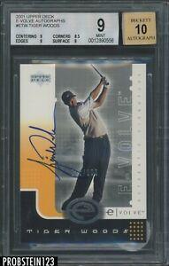2001 Upper Deck Golf E-Volve #ETW Tiger Woods RC Rookie /100 BGS 9 w/ 10 AUTO