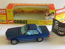 CORGI 393 MERCEDES-BENZ 350SL BLUE MINT WHIZZWHEELS +OPENING DOORS & BONET BOXED