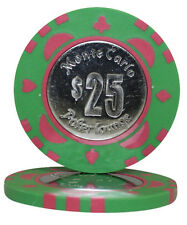 50pcs Monte Carlo Coin Inlay Poker Chips $25