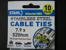 STAINLESS CABLE TIES STAINLESS STEEL * 520mm x 7.9mm * 10 PACK *