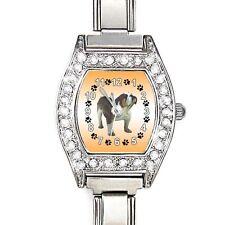 Bulldog CZ Ladies Stainless Steel Italian Charm Bracelet Wrist Watch BJ1119