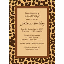 25 Personalized Birthday Party Invitations  - BP-025 Leopard Skin