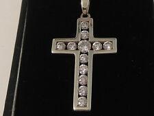 68H Ladies or Gents 9ct white gold zirconia set cross pendant necklace