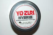 yo zuri fluorocarbon nylon hybrid 40lb lo-vis clear 600yds spool fishing line