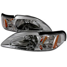 94-98 Ford Mustang Chrome Headlights w/Amber Reflector SVT Cobra Convertible GT