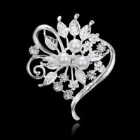 Flower Bouquet Rhinestone Crystal Pearl Wedding Bridal Brooch Pin Women Jewelry