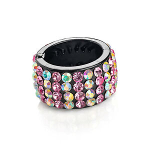 New Statement Pink AB Faux Crystal Black Ponio Pony Tail Hair Holder Ring Clip