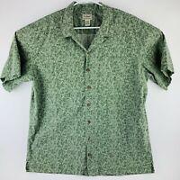 LL BEAN Mens XL Tall Green Leaf Print Camp Shirt Hawaiian Short Sleeve 0HYQ7