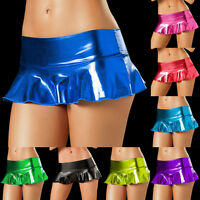 Women Lingerie Micro Mini Dress Bodycon Dance Club Skirt Metallic PU Leather
