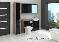 DRIFTWOOD / BLACK GLOSS BATHROOM FITTED FURNITURE WITH WALL UNITS 1900MM