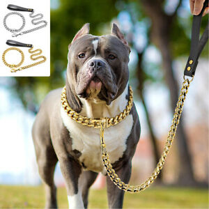 Chain Dog Collar and Heavy Duty Leash Leather Handle Cuban Link Stainless Steel