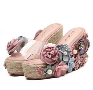 Women's Platform Sandals Shoes Slip On Wedge Heels Peep Toe Slipper Floral Sweet