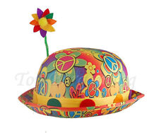 60s 70s Vintage Hippie Bowler Hat with Flower Clown Novelty Party Fancy Dress