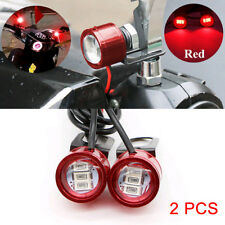 2x Red DC 12V Motorcycle Rearview Mirror Eagle Eye 3 LED Flash Strobe Lights DRL