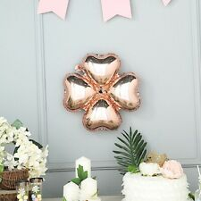 "10 Rose Gold 15"" wide Clover Mylar Foil Balloons Wedding Birthday Decorations"