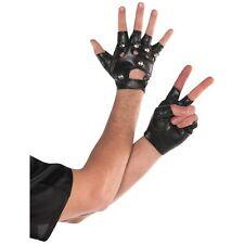 Studded Fingerless Punk Rocker Gloves 80's 1980s Mens Womens Fancy Dress