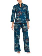 NEW N NATORI TEAL POGODA KNIT PJ 2PC PAJAMA SET SZ S SMALL