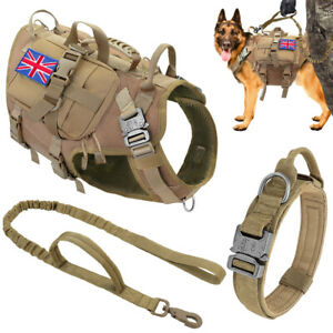Military Tactical Dog Harness & Collar & Lead Pet Molle Vest 3Pouches US+UK Flag