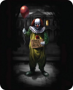 Free Hugs Queen Size Faux Fur Blanket Pennywise Scary Clown It NEW
