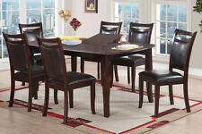 dining set 7pc modern table retro style faux leather chair dining room furniture