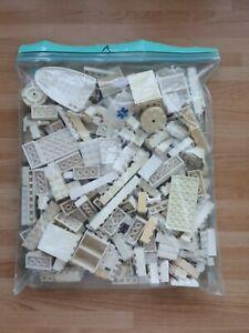 LEGO White Bricks 500g of Mixed Bricks Parts Pieces Bundle Discoloured (SA)