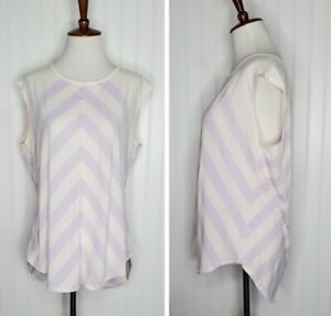 Athleta Cap Sleeve Loose fit Athletic Active Top Size Large Pale Pink /Purple